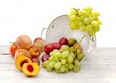 Fresh Summer Fruits Inside Ceramic Colander