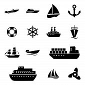 stock photo of viking ship  - Vector black ship and boat  icons set on white background - JPG