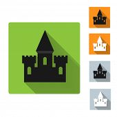 Set of castle icon with shadow, vector illustration