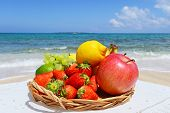 The beautiful sea and fresh fruits