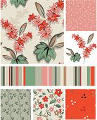Seamless Floral Vector Patterns and Icons. Use as fills or print off onto fabric to create unique it