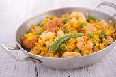 Постер, плакат: rice with seafood and vegetable