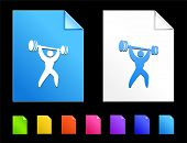 Weight lifting Icons on Colorful Paper Document Collection