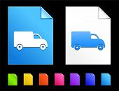 Truck Icons on Colorful Paper Document Collection