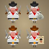 Set sheep cowboy in different poses