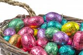 Colorful Chocolate Easter Eggs In A Basket