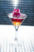 Molecular mixology - whisky and strawberry Cocktail with  caviar