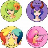 Cartoon Set of Zodiac Signs