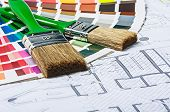 picture of interior decorator  - tools and accessories for home renovation on an architectural drawing - JPG