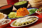 picture of enchiladas  - Stock image of traditional mexican food green enchilada dinner
