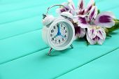 Alarm clock and beautiful flowers on blue wooden background