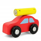 Red car with yellow battery