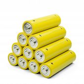 A yellow battery pyramid
