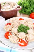 Meat dumplings - russian boiled pelmeni close up