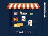picture of pamphlet  - Window Display of Print Productions.  Pamphlet, cards, envelope, book, DM, stand...etc. - JPG