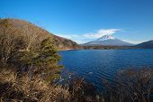 Mountain fuji in winter season from lake motosu