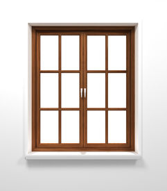 pic of quadrangles  - dark wooden closed window in white wall - JPG