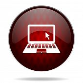 picture of movable  - computer red glossy web icon on white background  - JPG
