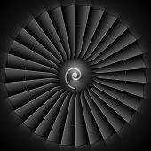 image of rotor plane  - Jet engine turbine blades - JPG