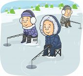 stock photo of ice fishing  - Illustration Featuring a Group of Men Ice Fishing - JPG