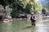 stock photo of fly rod  - Closeup of fisherman fly fishing in freshwater river - JPG