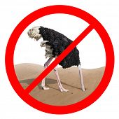 Постер, плакат: Ostrich behavior forbidden red sign isolated concept