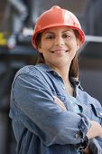 picture of blue-collar-worker  - Hispanic female construction worker - JPG
