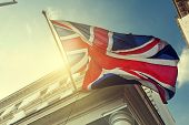 flag of UK on government building poster