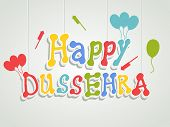 pic of navratri  - Stylish colourful text of Happy Dussehra with ballons and crackers on gery background - JPG