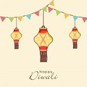 foto of laxmi  - Illustration of three dotted hanging lamps with decoration of small linen flags and stylish text - JPG