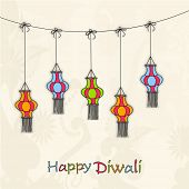 stock photo of laxmi  - Image of colourful hanging lamps on floral decorated background - JPG
