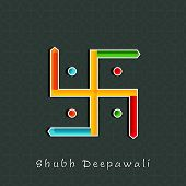 pic of dharma  - Illustration of colourful Swastika sign with Subh Deepawalitex on seamless background - JPG