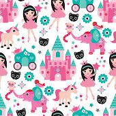 stock photo of girly  - Seamless little girl princess castle unicorn and elephant illustration background pattern in vector - JPG