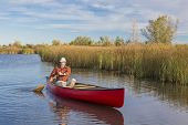 stock photo of collins  - senior male paddler paddling a red canoe on a calm lake - JPG