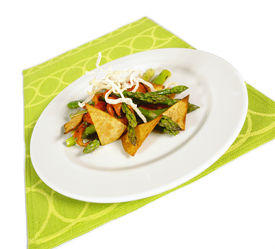 pic of doritos  - asparagos and bellpepper salad with thai noodles and tortilla chips - JPG