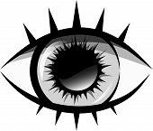 pic of human eye  - Vector black and white illustration - JPG