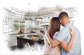 picture of interior sketch  - Young Military Couple Looking Inside Custom Kitchen and Design Drawing Combination - JPG