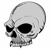 image of missing teeth  - Vector Illustration of a single grey human skull with vampire teeth on a white background - JPG