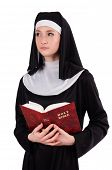 stock photo of nun  - Young nun with bible isolated on white - JPG