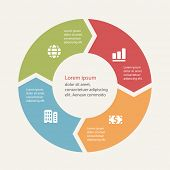 stock photo of diagram  - Circular infographics template for cycling diagram - JPG