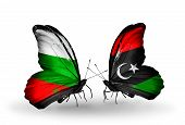 picture of libya  - Two butterflies with flags on wings as symbol of relations Bulgaria and Libya - JPG