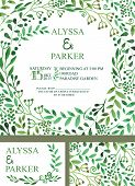 image of pattern  - Retro wedding design template with watercolor green branches  pattern - JPG