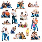 image of dogging  - Collage  photos of a happy smiling families with their dogs isolated on white  - JPG