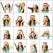 picture of chefs hat  - collage of little cute girl in a chef - JPG