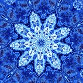 foto of psychedelic  - Abstract unique blue fractal mandala - JPG