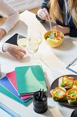 foto of assemblage  - View from the top of lunch during business meeting - JPG