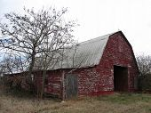 pic of red barn  - This is a classic old red barn with peeling paint that is being weathered by its surroundings - JPG