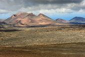 picture of volcanic  - wild volcanic landscape at Timanfaya National Park Lanzarote Island Canary Islands Spain - JPG