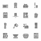 foto of household  - Household kitchen appliances vector silhouette isolated icon set and symbols - JPG