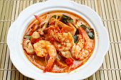 foto of thai cuisine  - Tom Yum Goong spicy soup with shrimp  - JPG